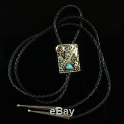 Sterling silver. 925 bolo tie Turquoise vintage Native American old pawn