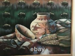 Still Life Sand-Painting Native American Indian Pottery Signed Teresa, MB232