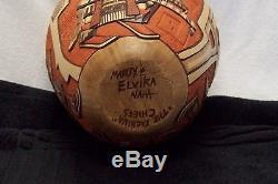 Striking Hopi Native American Pottery Signed Marty & Elvira Naha Kachina Chiefs