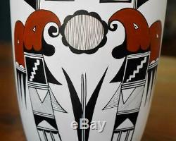 Stunning Native American Acoma Pueblo Pottery Polychrome Vase Signed F. Garcia R