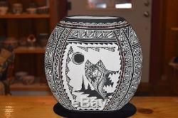 Superb Large Robin Sanchez Aragon Hand Carved Wolf Acoma Pueblo Bowl/free Ship
