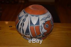 Superb MID 1900's Handcoiled Acoma Pueblo Parrot Olla! Free Shipping