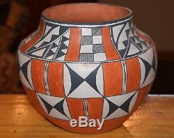 Superb Vintage Large Polychrome Handcoiled Acoma Pueblo Olla! Free Shipping