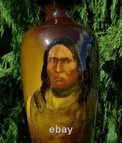 TALL Antique Weller Louwelsa NATIVE AMERICAN Indian Portrait Art Pottery VASE
