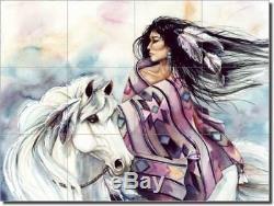 Taylor Native American Horse Art Ceramic Tile Mural