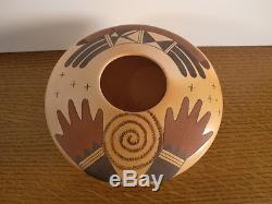 Traditional Hopi Pot Vase Jar by Garrett Maho Pottery Hands Symbol Design