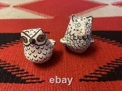 Two Vintage Native American Pueblo Pottery Owl Figurines 1 Acoma 1 Unknown