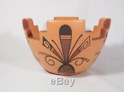 Unique Hopi Indian Pottery Cornmeal Bowl By Award Winning Stetson Setalla