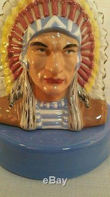 Used ceramic Signed norma 11-82 native American Indian chief accent lamp