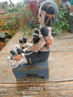 VINTAGE'COCHITI' NATIVE AMERICAN POTTERY STORYTELLER With8 KIDS WONDERFUL