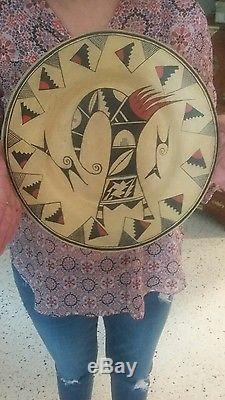 Vintage Hopi Tewa Large Sikatki Design Plate. Not Navajo