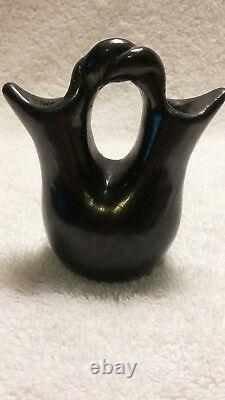 VINTAGE Native American Santa Clara Pueblo Black on Black Wedding Vase Pottery