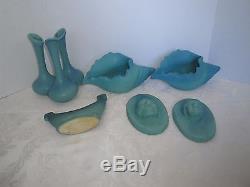 VTG 6 Van Briggle Pottery Native American Plaque Vase Shells Turquoise Planter