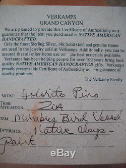 VTG Native American Pottery Zia Pueblo Olla Signed COA