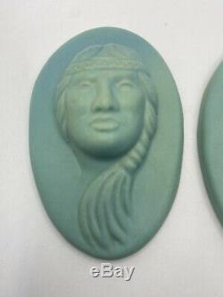 Van Briggle Native American Bust Wall Plaques Original Authentic
