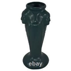 Van Briggle Pottery 2000 Dark Green Three Native American Indian Vase (Trujillo)