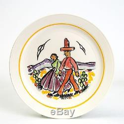 Vernon Kilns Gale Turnbull Native American Line Going to Town Luncheon Plate