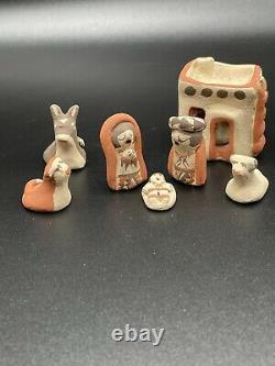 Very Rare MARY E. TOYA Jemez Pueblo Pottery Native American NATIVITY SET