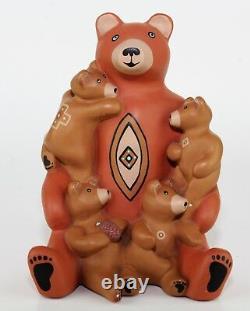 Vintage 1989 Teissedre Pottery Native American Storyteller Bear Signed K. Graves