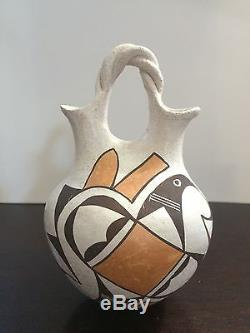 Vintage ACOMA PUEBLO Wedding Vase Pottery Signed by LUCY M. LEWIS
