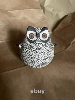 Vintage Acoma Pueblo Joyce Leno Hand-Coiled Pottery Owl Figurine Native American