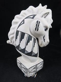 Vintage Acoma Pueblo Pottery Horse Head Statue S. Chino Native American