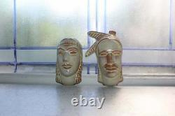 Vintage Frankoma Pottery Native American Face Masks Busts Wall Plaques