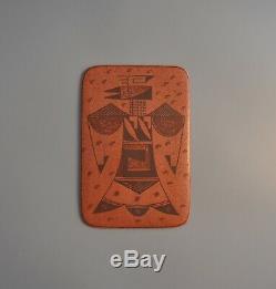 Vintage Hopi Indian Pottery Tile Pueblo Bird Aas ku Mana Gwen Setalla