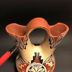 Vintage JEMEZ PUEBLO Marriage Jug POTTERY VASE Native American BEAUTIFULLY PAINT