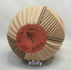 Vintage Jemez Pueblo Pottery by Bertha Gachupin 8 x 5 Carved Cornstalk Vase