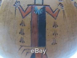 Vintage K. White Native American Indian Navajo Yei Kachina Doll Pottery Vase yqz