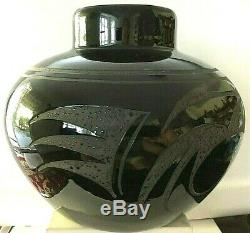 Vintage Large Navajo Native American Black On Black Pottery Bowl Vase Mary Saxon