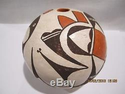 Vintage Lucy M Lewis Native American Acoma Pottery Seed Pot 1970's Signed