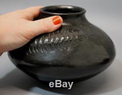 Vintage Mata Ortiz Pueblo Indian Black Pottery Pots, Yolanda Quezada Centipede