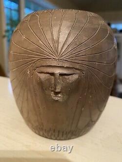 Vintage Native American CHEROKEE Indian NC Pottery Bigmeat Head VASE
