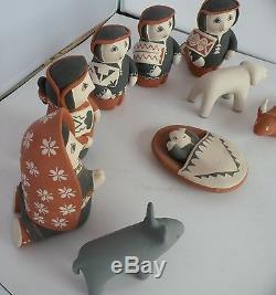 Vintage Native American Cochiti Pueblo big painted pottery nativity set, 9 piece