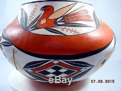 Vintage Native American Handmade Acoma Pottery Shyatesa White Dove