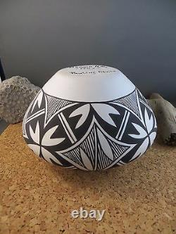 Vintage Native American Indian Art Pottery Bowl Black White Acoma Pauline Abeita