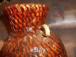 Vintage Native American Navajo Woven Pitch Pot Vase