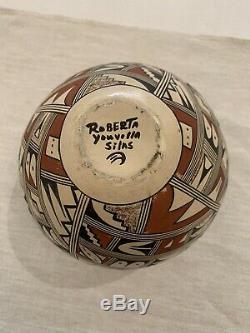 Vintage Native American Pottery Vase Signed Roberta Youvella Silas Hopi