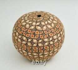 Vintage Native American Pottery with Geometric Design Hand Painted Round