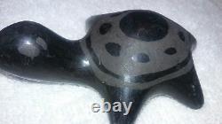 Vintage Native American Santa Clara Pueblo Black Pottery Turtle back pattern