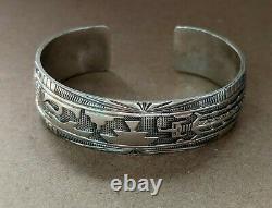 Vintage Native American Sterling Silver Yei Sun Pottery Story Bracelet Navajo