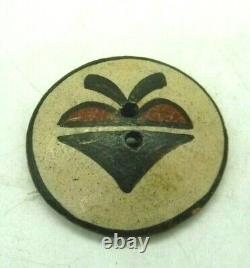 Vintage Native American Zia Pueblo Pottery Button Two hole 1.75