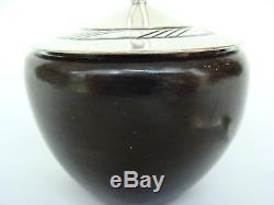 Vintage Navajo Kenneth Begay White Hogan Sterling Silver Black Pottery Jar Spoon