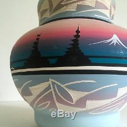 Vintage Navajo Native American Signed Pink Mesa Sunset Hand Painted Pottery Vase