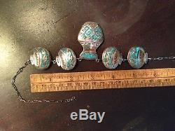 Vintage Navajo Sterling Silver Chip Inlay Turquoise Coral Link Necklace Pottery