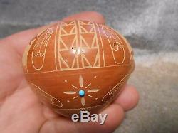 Vintage Red Starr Sioux Native American Indian Carved Pottery Vase