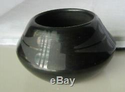 Vintage Santa Clara Signed Native American Black Pottery Vase. Martinez