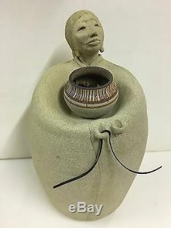 Vintage Signed Native American Pottery Figural Sculpture Lynn Hone Utah Artist